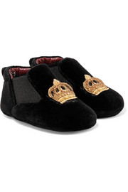 Size 16 - 20 embroidered velvet slippers