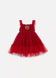 Months 3 - 30 appliquéd Swiss-dot tulle dress