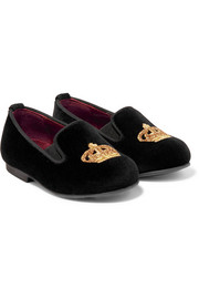 Size 19 - 26 embroidered velvet slippers