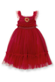Ages 2 - 6 appliquéd Swiss-dot tulle dress