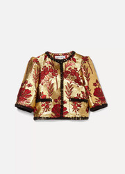 Ages 8 - 12 lace-trimmed brocade jacket