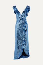 Wrap-effect ruffled sequined crepe midi dress