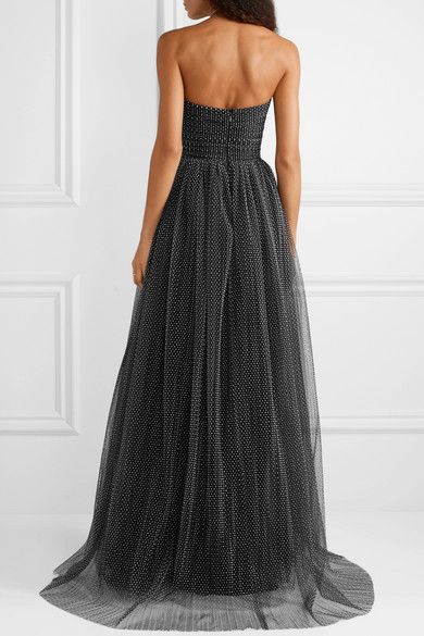 d4cb2970ba137 Monique Lhuillier. Strapless ruched Swiss-dot tulle gown. $3,195. Play