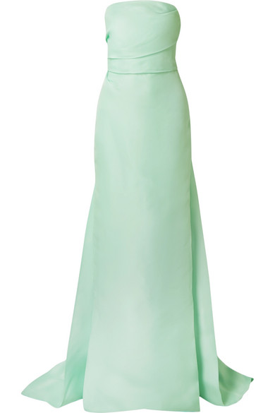 MONIQUE LHUILLIER Strapless Column Gown in Mint