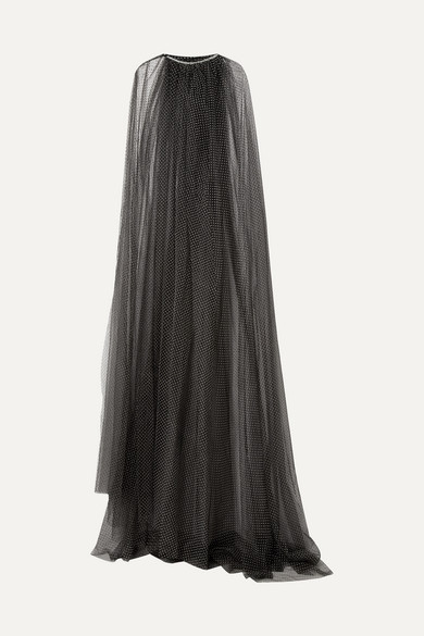Monique Lhuillier CRYSTAL-EMBELLISHED SWISS-DOT TULLE CAPE