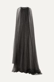 Crystal-embellished Swiss-dot tulle cape