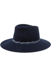 Charles denim-trimmed rabbit-felt fedora