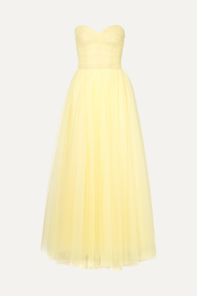Monique Lhuillier Strapless ruched tulle gown
