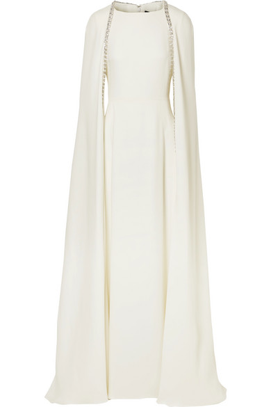 REEM ACRA Crystal-Embellished Cape-Effect Silk-Crepe Gown in Ivory