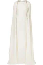 Crystal-embellished cape-effect silk-crepe gown