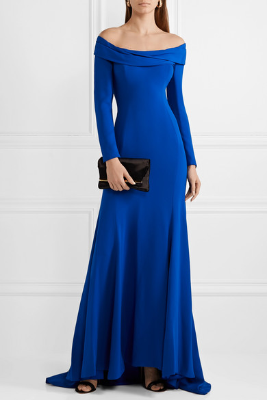 Draped Off The Shoulder Silk Crepe Gown by Reem Acra