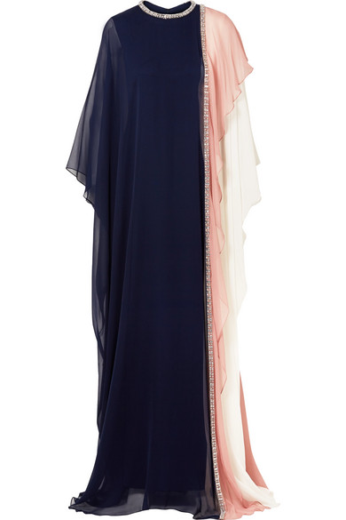 REEM ACRA Crystal-Embellished Draped Silk-Chiffon Gown in Navy