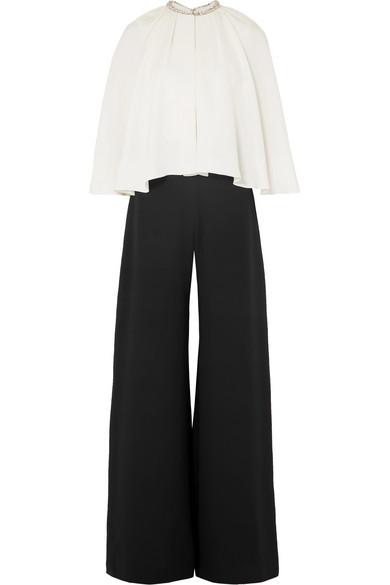 REEM ACRA Crystal-Embellished Cape-Effect Silk-Cady Jumpsuit in Black