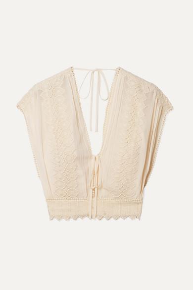 PHILOSOPHY DI LORENZO SERAFINI | Philosophy di Lorenzo Serafini - Cropped Crochet-trimmed Georgette Top - Cream | Goxip
