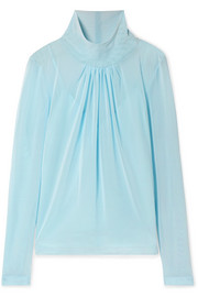 Gathered stretch-tulle blouse