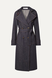 Belted denim trench coat