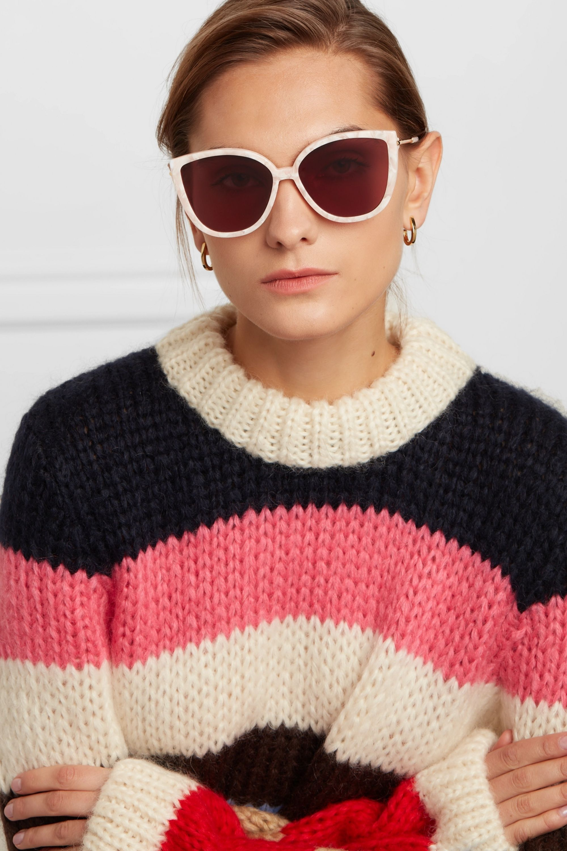 GANNI Cat-eye acetate and gold-tone sunglasses