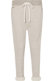 Cotton-blend terry track pants