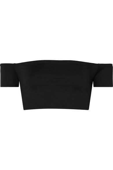 BROOCHINI Lailai Off-The-Shoulder Bikini Top in Black