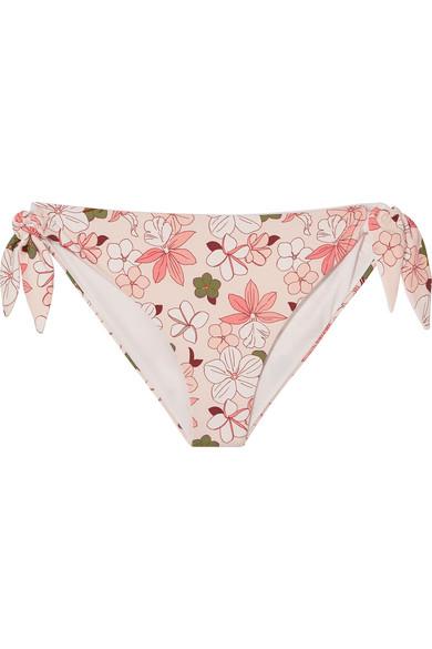 BROOCHINI Indah Floral-Print Bikini Briefs in Pastel Pink
