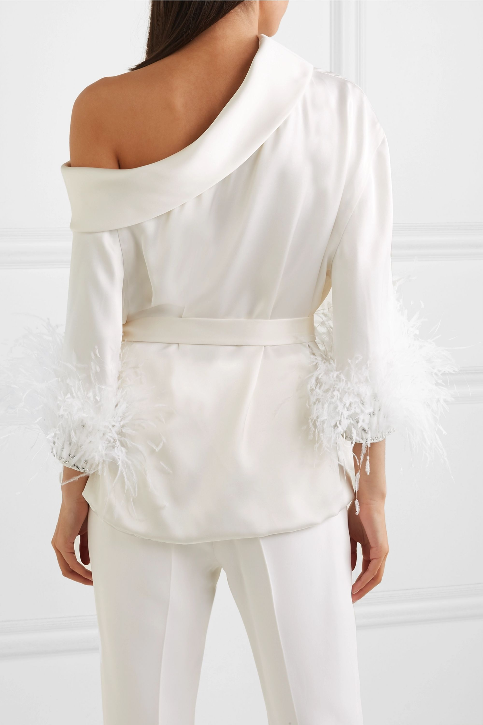 Ralph & Russo Off-the-shoulder feather and crystal-trimmed silk-satin top