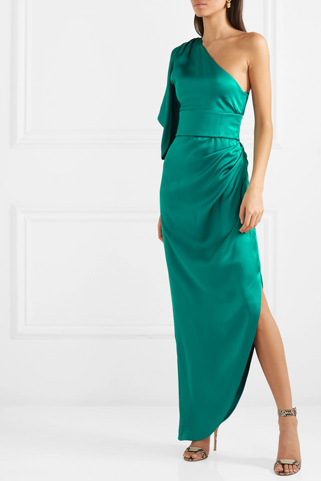 Belted one-shoulder asymmetric silk-satin dress
