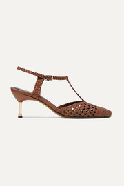 Flamenco metal-trimmed woven leather pumps