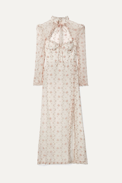 Brock Collection  OLIVIA RUFFLED FLORAL-PRINT SILK-ORGANZA MAXI DRESS