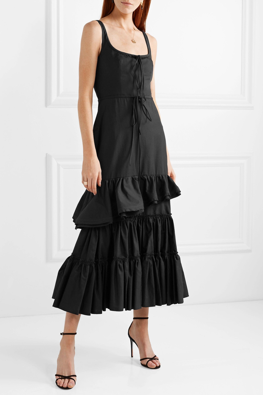Brock Collection Onilde tiered frayed cotton-poplin maxi dress