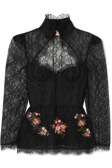 Oliera Tie Detailed Embellished Corded Lace Blouse by Brock Collection