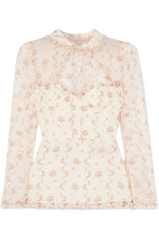 Brock Collection Tie-neck floral-print silk-georgette blouse