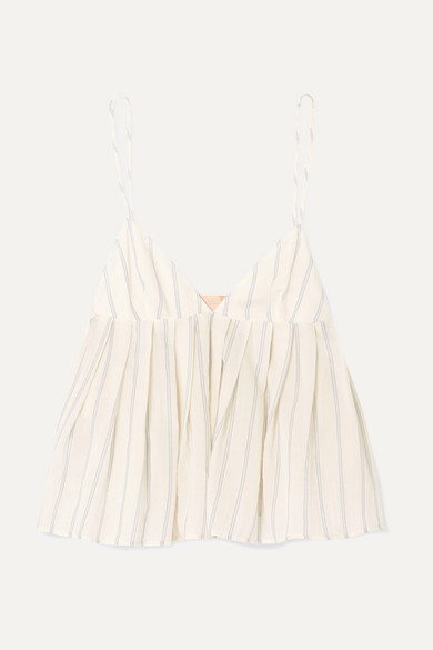 BROCK COLLECTION | Brock Collection - Ombrello Striped Cotton Camisole - Off-white | Goxip