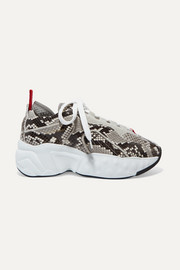 Acne Studios Manhattan snake-effect leather, suede and mesh sneakers