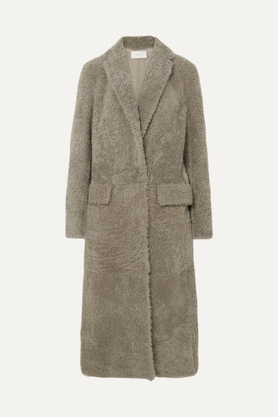 THE ROW | The Row - Muto Belted Shearling Coat - Gray | Goxip