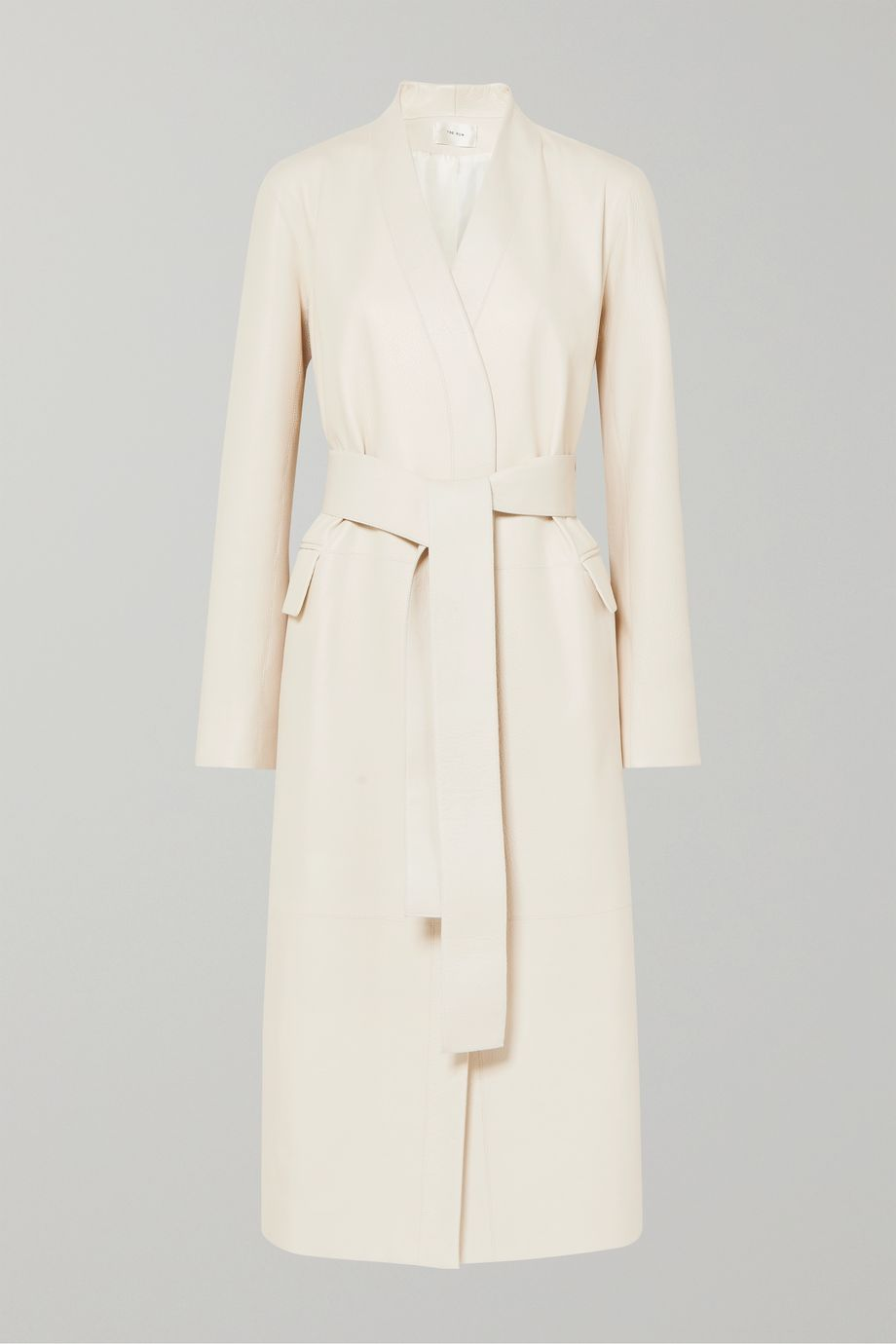 The Row Jumo belted textured-leather coat