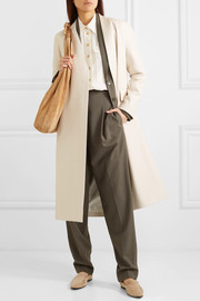 Jumo belted textured-leather coat