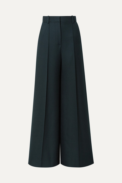 THE ROW | The Row - Isla Wool-twill Wide-leg Pants - Dark green | Goxip