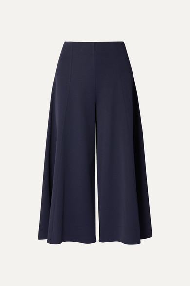 Mildro Cropped Ribbed Stretch-Knit Wide-Leg Pants in Navy