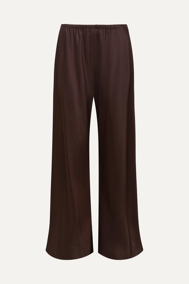 THE ROW | The Row - Gala Satin Wide-leg Pants - Dark purple | Goxip