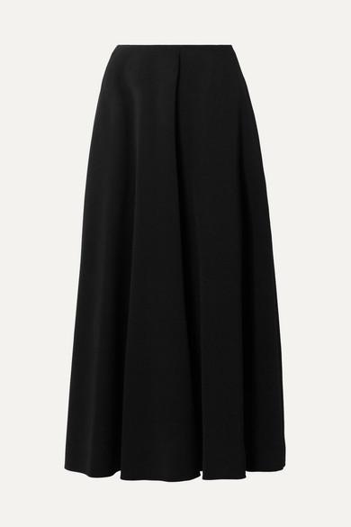Mara Stretch-Crepe Midi Skirt in Black