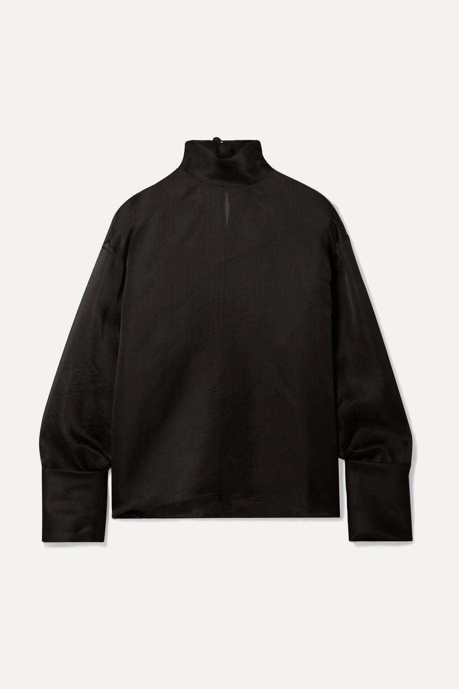 The Row Karlee oversized silk-organza turtleneck blouse