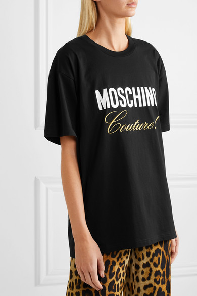 Moschino Shirts Embroidered printed cotton-jersey T-shirt