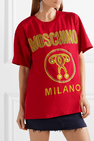 Moschino Shirts Oversized embroidered cotton-jersey T-shirt