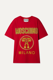 Moschino Oversized embroidered cotton-jersey T-shirt