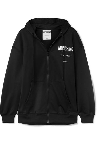 MOSCHINO | Moschino - Printed Jersey Hoodie - Black | Goxip