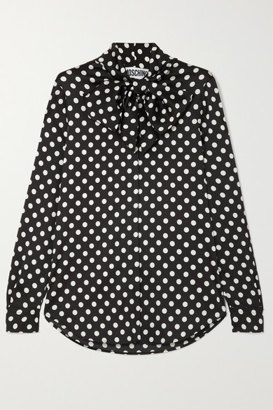 Pussy-Bow Polka-Dot Charmeuse Blouse in Black
