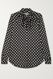 Moschino Pussy-bow polka-dot charmeuse blouse
