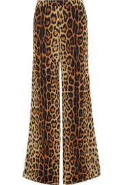 Moschino Leopard-print silk-crepe wide-leg pants