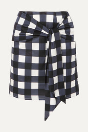 Tie-front checked cotton and silk-blend mini skirt