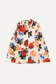 Vera faux pearl-embellished floral-print silk-satin shirt